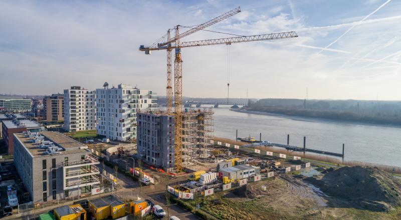 Construction de la zone résidentielle De Zaat à Temse